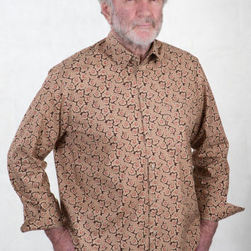 Mens Pure Cotton Shirt - Rose Vines
