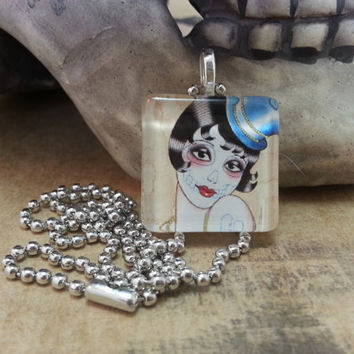 Sugar Skull Glass Tile Pendant - Day of the Dead, Pin Up Girl, Top Hat, Glass Tile, Ball Chain, Necklace
