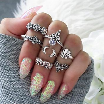 Vintage Style Seven Piece Set Bohemian Beach Opal Ring Set Midi Finger Boho