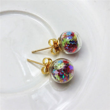newest spring design fashion brand jewelry double sides stud earrings for women star handmade Glass beads statement earrings