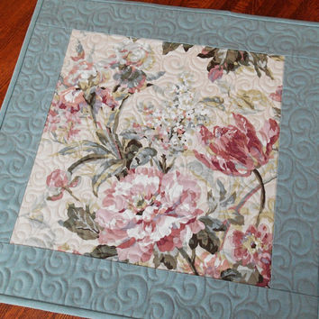 Quilted Table Topper with Flowers in Dusty Pinks and Blues - Shabby Cottage Chic - Square Table Topper - Linen Table Topper