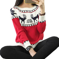 Sweater With Deer Pull Femme Ugly Christmas Sweaters Women 2016 Korean Kawaii Knitted Oversized Pullover Winter Warm Jumper New