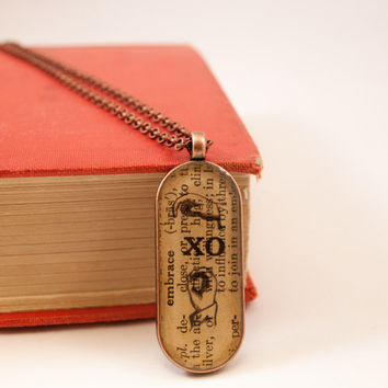 Book Art Jewelry, XO Necklace, Hug & Kiss, Antique Dictionary Page, Sign Language, Typography Pendant, Copper, Embrace