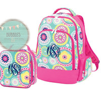 Monogrammed Hot Pink and Mint Flower Backpack and Lunch Box SET with Free Personalization