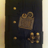 Handmade steampunk vintage victorian clock black leather journal notebook sketchbook