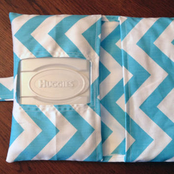 Blue and White Chevron Diaper Clutch Case- Cute Baby Shower Gift