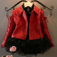 Children Clothing Spring Autumn winter Baby Girls Coats Fashion Motorcycle Pockets Zipper Princess Kids PU Leather Jackets Outerwear