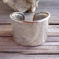 Hammered Minimal Design Open Flat Band Ring 925 Sterling Silver