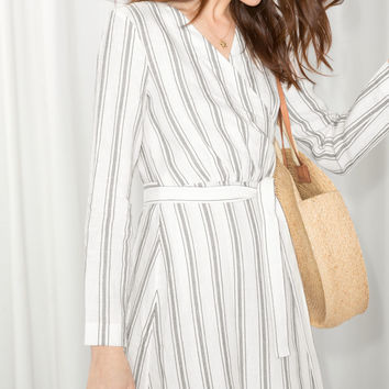 Striped Linen Blend Wrap Dress - Stripe - Mini dresses - & Other Stories