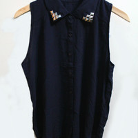 Navy Blue Studded Collar Top