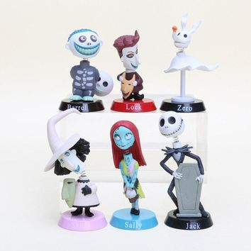 6pcs/set The Nightmare Before Christmas Cartoon Anime PVC Collectible Model Toys Spring Shaking Head Dolls Christmas Gift  N047