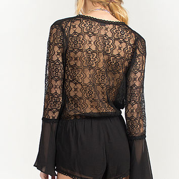 Lacey Back Bell Sleeved Romper