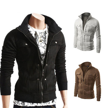 Stylish Korean Slim Casual Men Hoodies Jacket [6528647555]