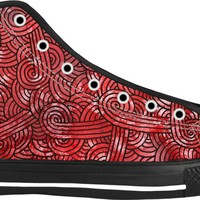 Red and black swirls doodles Black High Tops