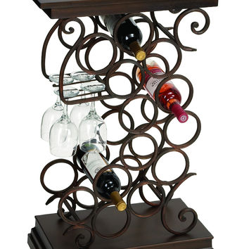 Wine Bar Table Rack With Glass And Bottle Holder In Swirl Design: Wine Bar Table Rack With Glass And Bottle Holder In Swirl Design Brand Woodland