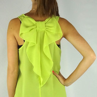 Sleeveless Bow Back Blouse - Lime | .H.C.B.