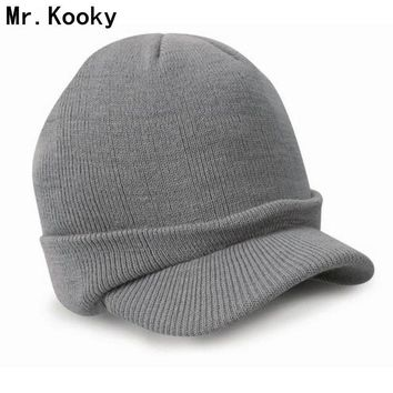 Mr.Kooky New Fashion Autumn Winter Warm Men Women Knitted Beanie with Brim Peaked Cap Boys Girls Casual Army Visor Hats Gifts