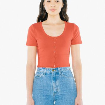 2x2 Button Front Short Sleeve Crop Top | American Apparel