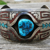 Old Pawn Vintage Native American Sterling Turquoise Coral Inlay Cuff Bracelet signed
