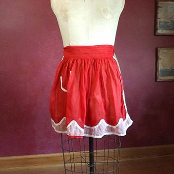 Vintage Sheer Red and White Apron, Kitchen Hostess Half Apron, Maid Costume