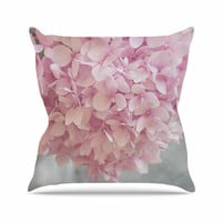 "Suzanne Harford ""Pastel Pink Hydrangea Flowers"" Pink Floral Throw Pillow"