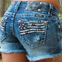 Miss Me American Flag Denim Shorts