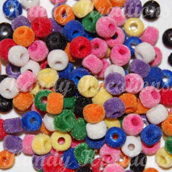 160 Fuzzy Pony Beads 6x9mm Velvet Flocked for Kandi Rave Kids Crafts Bracelets beading furry soft scouts 9mm Church activity lacing sorting
