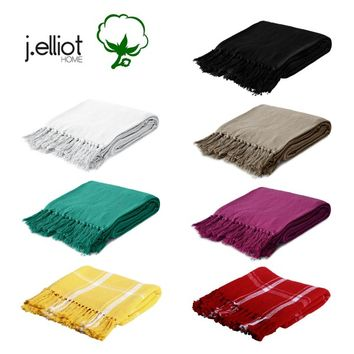 100% Cotton Fringed Throw Rug 125 x 150 cm by J.elliot