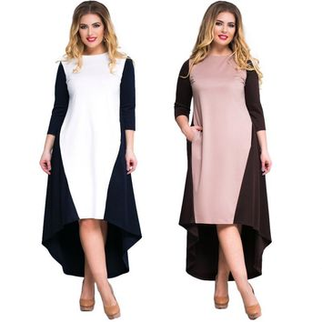 avant Plus Size colorblock Dress Women Clothing Party Maxi midi mixi color block
