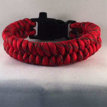 Red Baron Fishtail Paracord Bracelet with emergency Whistle Buckle