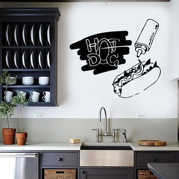 Vinyl Wall Decal Hot Dog Fast Food Cook Canteen Kitchen Stickers Unique Gift (ig4522)