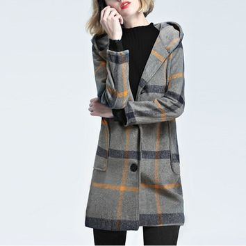 Winter Women Warm Wool Tartan Check Plaid Hooded Coat Jacket Vinatge Ladies Long Sleeve Single Breasted Outwear Overcoat Parka