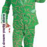 Men's Candy Cane Suit Adult Costume - Green - Standard One-Size