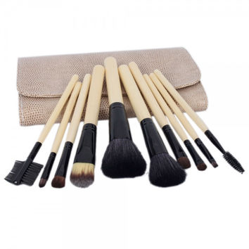 10pcs Professional Cosmetic Makeup Brush Set with Bag Cream-colored