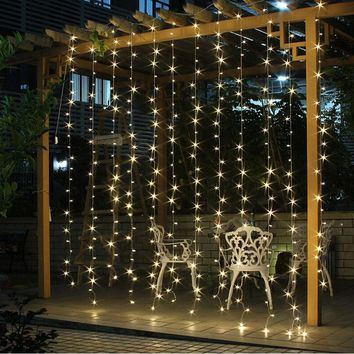 2017 4.5M x 3M 300 LED Outdoor Home Warm White Christmas Decorative xmas String Fairy Curtain Garlands Party Lights For Wedding