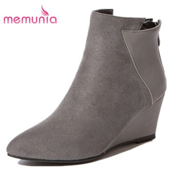 MEMUNIA wedges heels for spring autumn fashion women ankle boots for pointed toe simple solid boots or flock leather