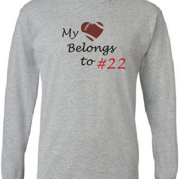 Football mom shirt. Custom with player's number.  Long sleeved in gray.