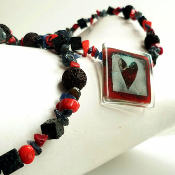 Heart gemstone necklace - Red coral necklace - Lava necklace - Gemstone jewelry - Fused glass necklace - Love necklace -  Red black necklace