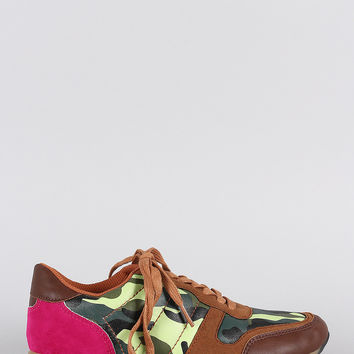 Colorblock Camouflage Print Round Toe Lace Up Sneaker