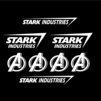 Set of 8 Stark Industries Decal / Sticker Iron Man Avengers Marvel vinyl logo Car window laptop decals