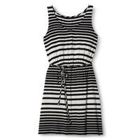Merona® Women's Knit Tank Dress w/Self Tie - Black/White
