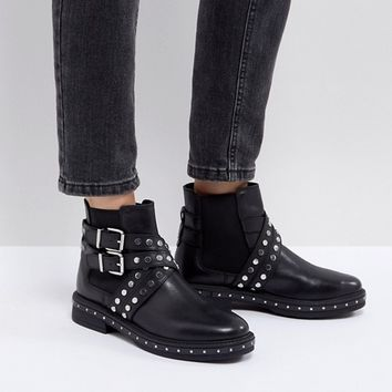 ASOS ADVENT Premium Leather Studded Biker Boots at asos.com