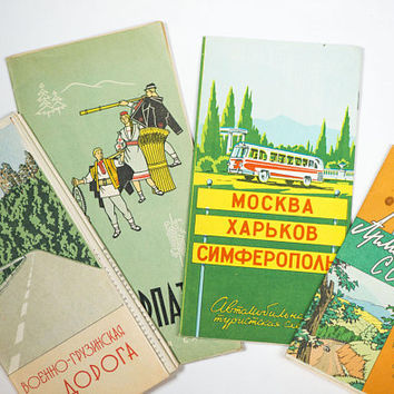 USSR travel guides set 4, The Zakarpattia travel, Armenian SSR guide, from Moscow to Simferopol guide in Russian, Georgian Military Road