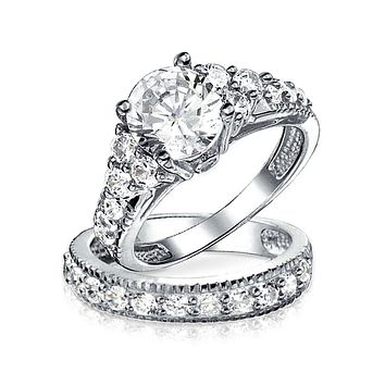 3CT Solitaire Sterling Silver AAA CZ Wedding Engagement Ring Band Set