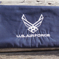 US Air Force Embroidered  Zipper Pouch, Pencil Case, Makeup, Cosmetic Bag, Purse Organizer, Accessory Bag