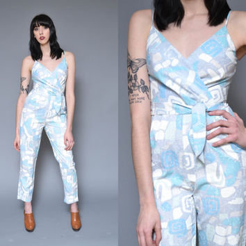 80s Jumpsuit Tribal Printed Pantsuit S Pastel Blue White Geometric Ethnic Hippie Boho Strappy Deep V High Waist Belted Harem Pants Romper