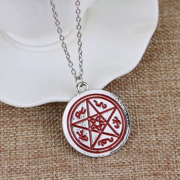 Mysterious Supernatural Necklace Devil's Trap Pentagram Pentacle Vintage Retro Antique Alloy Pendant Movie Jewelry Gift For Fans