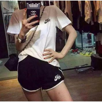 NIKE AIR Women Casual Short Sleeve Top Sport Gym Sweatpants Set Two-Piece Sportswear