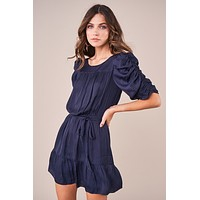 Navy Ruched Sleeve Ruffle Dress