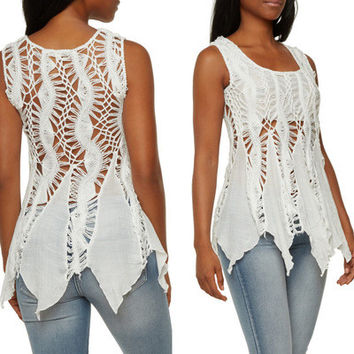 Women Handmade Hollow Bandage Lace Floral Printed Beach Sleeveless Handkerchief T-Shirt _ 12442